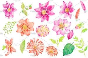 婚礼请柬、结婚贺卡水彩大丽菊花束剪贴画  Watercolor Wedding Dahlia Bouquet插图2