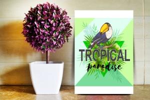 巨嘴鸟&花卉水彩手绘矢量插画素材 Tropical Vibes Vector Design Kit插图6