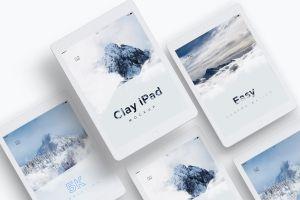 iPad平板电脑UI设计效果图预览等距样机模板 Clay iPad 9.7 Mockup 07插图1