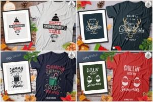 20款圣诞节主题复古风T恤印花图案设计素材包 Christmas T-Shirt Designs Retro Bundle. Xmas Tees插图5