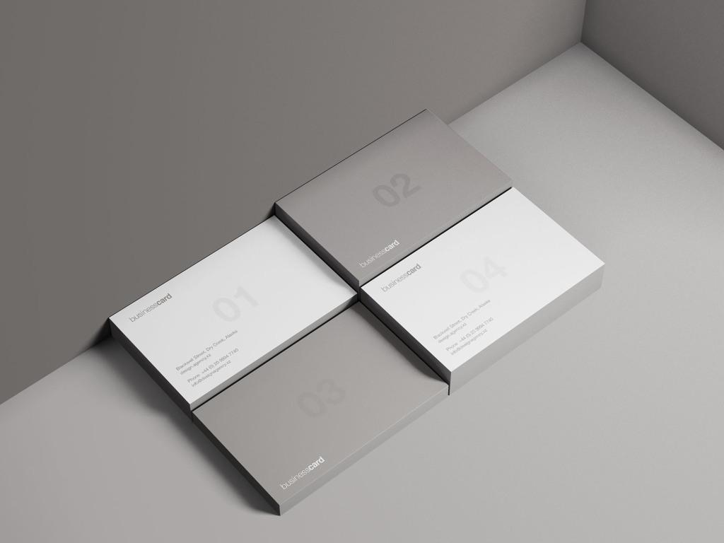 现代简约风企业名片设计图预览样机 Modern Business Card Mockup插图