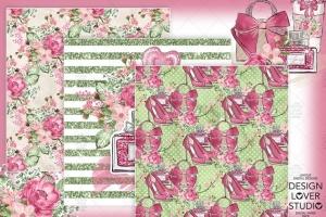 情人节礼物腮红色水彩花卉剪贴画设计素材 Spring Girl digital paper pack插图3