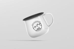 高分辨率圆形珐琅杯子样机 Round Enamel Mug Mockup插图1