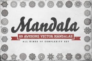 69种曼陀罗花矢量几何图形设计素材包 69 Vector Mandala – All Kinds of Complexity Set插图1