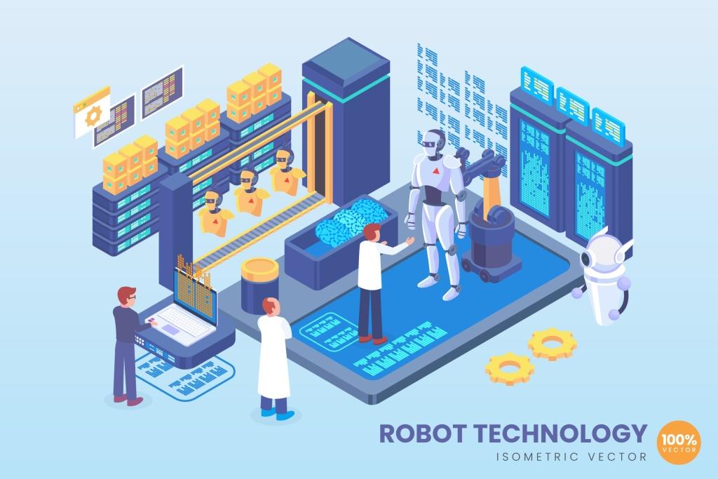 机器人开发技术主题等距概念矢量插画 Isometric Robot Development Technology Vector插图