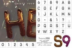 3D金箔气球字体样式PSD分层模板 Foil Balloon – 3D Lettering插图6