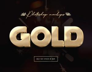 3D金色金属文本文字特效PSD分层模板 3D Gold Text Effects – 10 PSD插图11