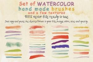 36款水彩画AI画笔笔刷&水彩质感肌理纹理 Set of Watercolor Brushes and Textures插图(1)