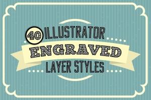雕刻效果AI文本样式 Engraved Vector Text Styles插图1