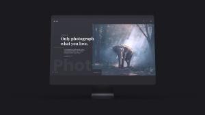 网站UI设计效果图预览黑色iMac电脑样机模板 Dark iMac Mockup插图2