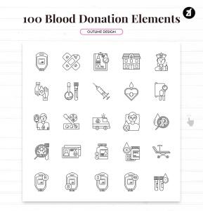 100个红十字会献血元素主题矢量图标 100 Blood donation elements插图5