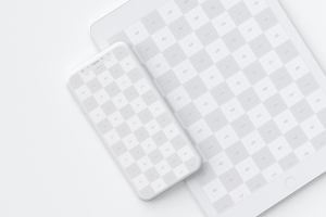 iPhone X&iPad叠放平铺视觉屏幕设计演示样机模板01 Clay iPhone X and iPad Mockup 01插图5