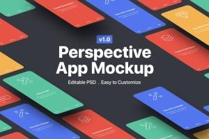 透视视图APP应用设计样机展示模板V1 Perspective App Mockup 1.0插图1