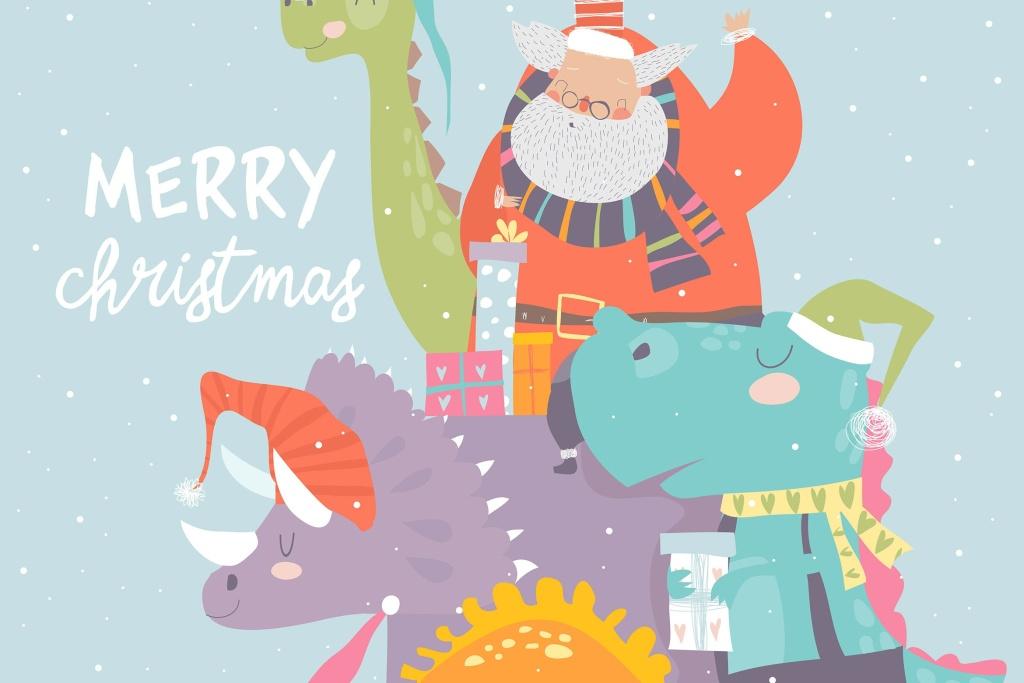 骑恐龙送礼物的卡通圣诞老人矢量手绘素材 Cartoon Santa Claus with gifts sitting on dinosaur插图