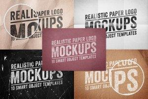 纸张印刷效果 Logo 展示样机 Paper Logo Mockups Volume 1插图3