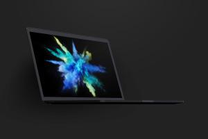 陶瓷黏土材质MacBook Pro笔记本电脑左前视图样机 Clay MacBook Pro 15″ with Touch Bar, Front Left View Mockup插图3