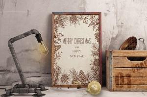 圣诞主题复古设计风格素材包[元素/背景/无缝纹理] Merry Christmas Vintage Design Kit插图8