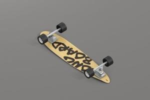 长滑板手绘图案设计样机模板 Skateboard Longboard Mockup插图13
