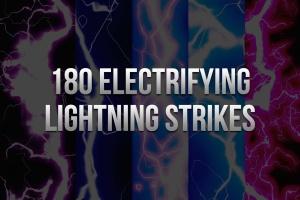 180款闪耀雷击雷电闪电图案PS笔刷 180 Electrifying Lightning Strikes插图1