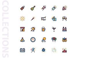 25枚新年主题矢量填充图标 New Year Filled  Icons插图4
