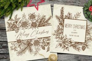圣诞主题复古设计风格素材包[元素/背景/无缝纹理] Merry Christmas Vintage Design Kit插图6