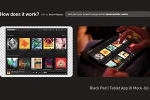 平板APP应用界面设计演示样机模板 Black iPad Tablet App UI Mock-Up插图4