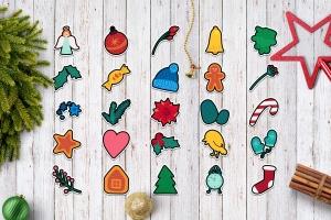 圣诞节&冬季主题贴纸图案矢量设计素材包 Christmas And Winter Stickers Set插图1