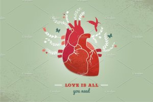 心花怒放的爱情背景  Love background with heart & flowers插图2