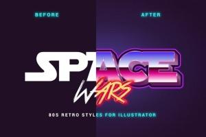 80年代复古插画风格PS字体样式 for AI 80s Retro Illustrator Styles插图2