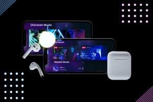 在线音乐APP设计效果图样机模板 Neon Music App MockUp插图6