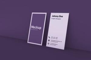 竖版设计风格商务名片设计展示效果图样机 Vertical Business Card Mockup插图1