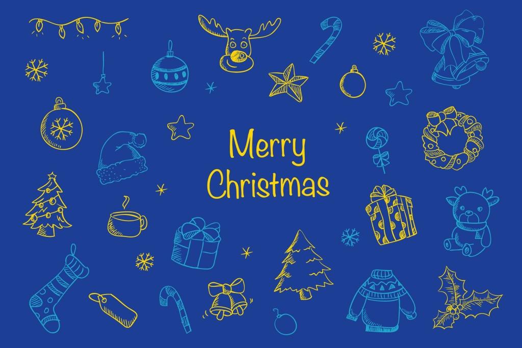 圣诞节主题元素装饰图案矢量设计素材 Christmas Blues插图