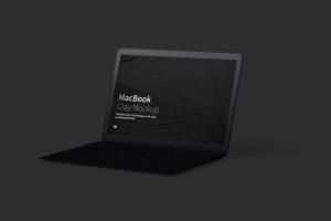MacBook笔记本电脑屏幕演示右视图样机 Clay MacBook Mockup, Right View插图5