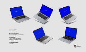超逼真笔记本电脑屏幕演示样机模板v1 Laptop Mockups vol01插图4