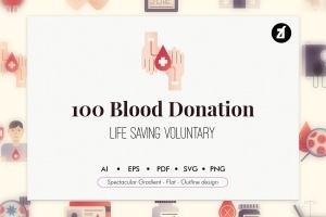 100个红十字会献血元素主题矢量图标 100 Blood donation elements插图1