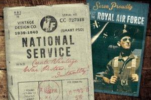 复刻一战二战时期兵役海报模板图层样式 National Service – War Posters Kit插图1