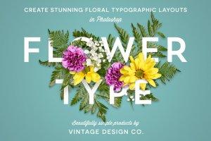 花卉版画布局图层样式 FlowerType for Photoshop插图1