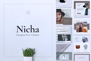 品牌服装Instagram品牌故事设计模板 NICHA Instagram Post插图1