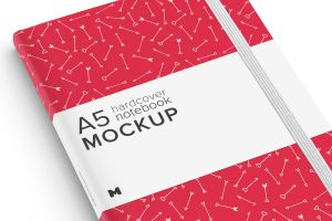 A5精装笔记本/记事本外观设计样机模板01 A5 Hardcover Notebook Mockup 01插图2