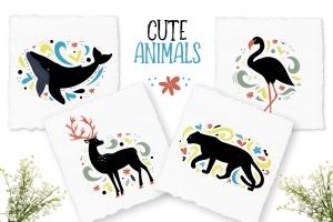 动物手绘装饰图案插画素材 Decorative Animals Illustrations插图1
