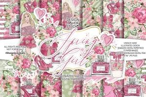 情人节礼物腮红色水彩花卉剪贴画设计素材 Spring Girl digital paper pack插图1