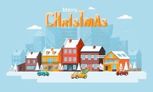 圣诞节&2020新年快乐主题矢量场景插画素材 Merry Christmas and and Happy New Year cards插图(5)