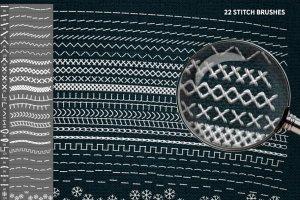 裁缝缝线效果PS笔刷 STITCH Effect Photoshop Tooklit插图4
