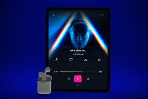 音乐APP界面设计效果图iPad Pro平板电脑样机模板 iPad Pro Music App插图2