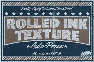 12款复古墨辊印刷效果图层样式 Rolled Ink Texture Auto-Press插图1