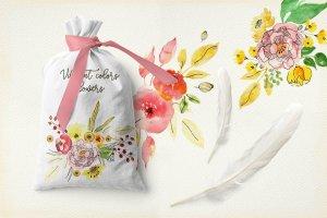 手工制作的水彩花朵花卉  Vibrant Colors Flowers插图3