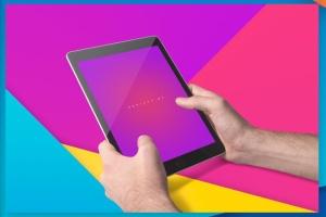 iPad平板电脑应用程序UI展示样机模板 iPad Tablet UI App Mockups with Vivid Backgrounds插图9