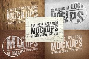 逼真复古纸张Logo设计展示样机模板Vol.1 Realistic Paper Logo Mockups Volume 1插图4