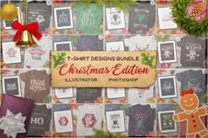 20款圣诞节主题复古风T恤印花图案设计素材包 Christmas T-Shirt Designs Retro Bundle. Xmas Tees插图1