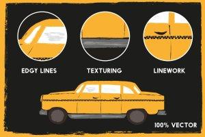 中世纪辊筒印刷滚筒刷油漆效果PS笔刷 Mid-Century – Dry Paint Brushes插图4